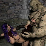 Voluptuous babe fucked by monster