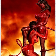 Lustful Red Devil babes and elves caressing each other