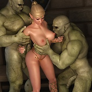 Bewitching elf princess caught by horny orcs