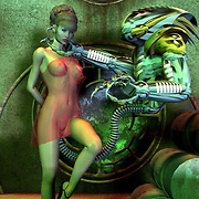 Various aliens attacking hot babes in sci-fi porn
