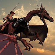 Elf warrior flies a dragon