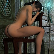 Elf girl with a voluptuous body poses