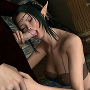 Elfin makes blow job with her soft lips