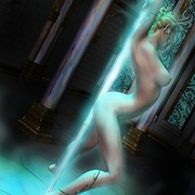 Elf babe dancing near a magical pole