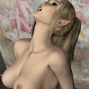 Elfin moans of pleasure while he kisses her pussy