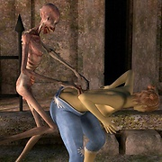 A skeleton zombie attacks a girl porn pics