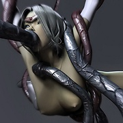 Horny tentacles and aliens lick human pussy