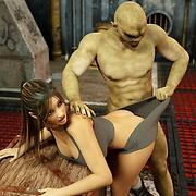Monster zombie-like creatures bang Lara Croft